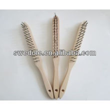 2 row steel wire with long wooden handle